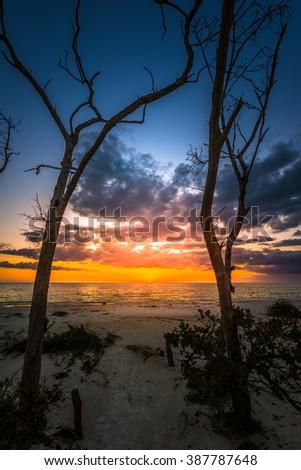 Lovers Key State Park at Sunset Florida USA - stock photo