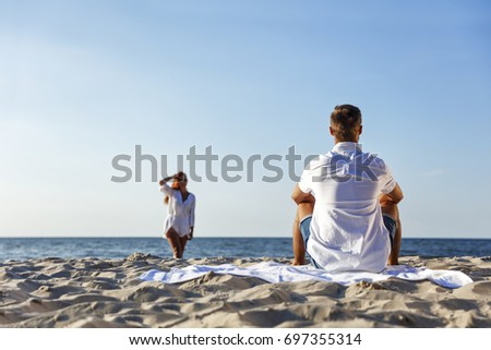 lovers on beach and hot summer time