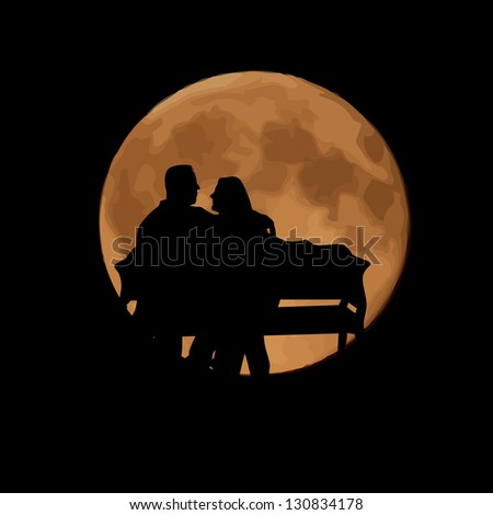 Lovers on the bench in the moonlight. Raster - stock photo