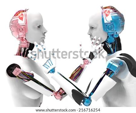 Lovers robot - stock photo