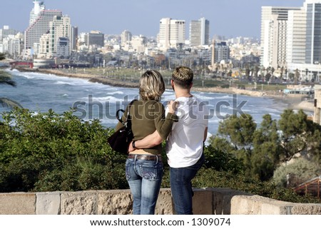 lovers watch the beach and the skyline of Tel-aviv, Israel