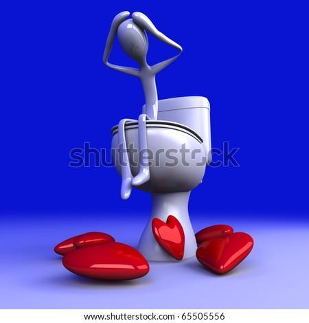 Lovesick on the Toilet - stock photo
