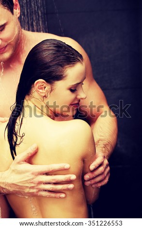 Loving affectionate young couple at the shower.