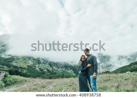 loving  amazing couple standing on the road