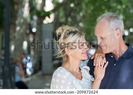 Loving attractive middle-aged couple looking tenderly at each other as they pause in the shade of leafy green trees - stock photo