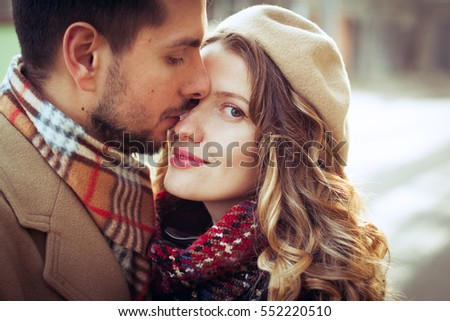 loving couple happy together outdoor on romantic walk on country side, cozy mood, vintage clothes
