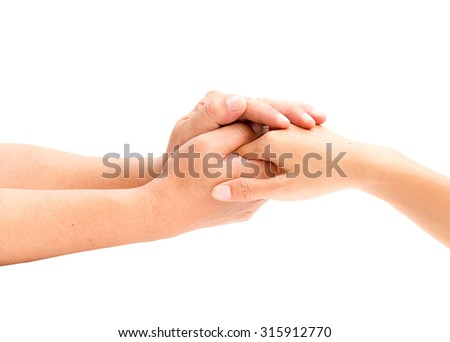 Loving couple holding hands on white background