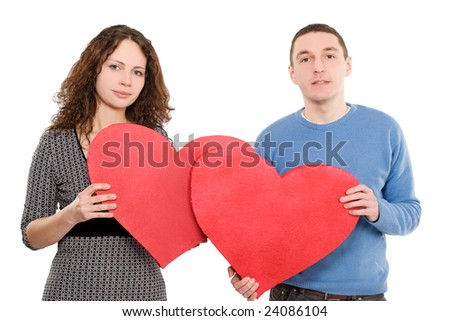 loving couple holding hearts togeather