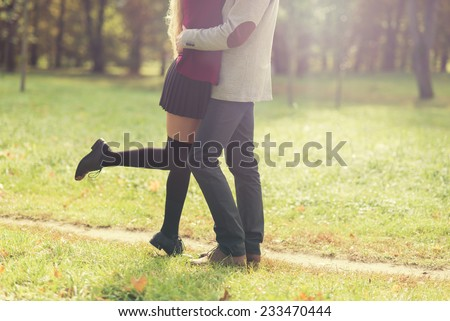 loving couple in spring - stock photo