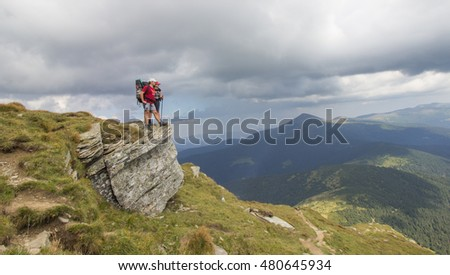 loving couple in the mountains