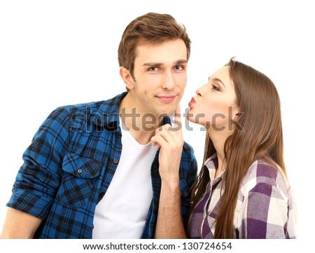 Loving couple isolated on white - stock photo