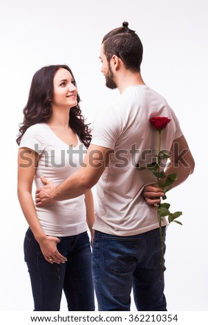 loving couple, man with rose waiting his woman on white background, the romantic, wedding or valentines day concept