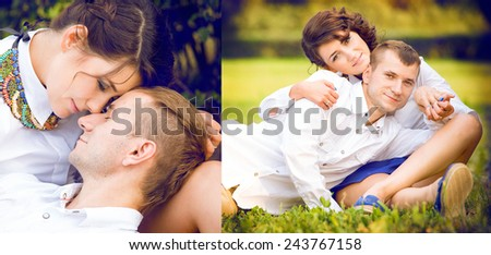 loving couple on a walk - stock photo