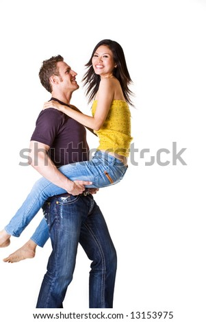 loving couple shows their emotion in fun