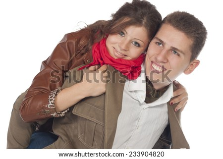 Loving Couple Smiling Together At Home  - stock photo