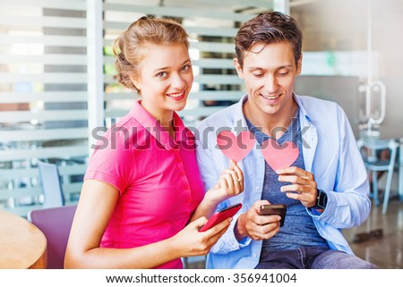 loving couple using a dating website  - stock photo