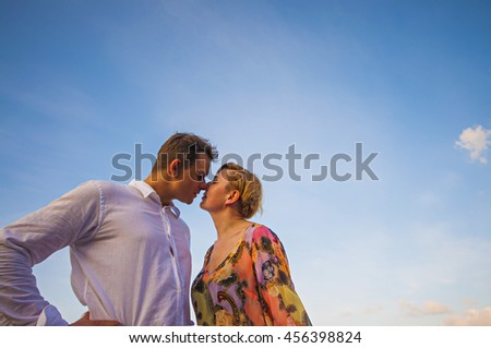 Loving Couple with intimate close up - stock photo