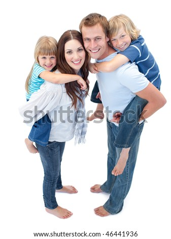 Loving family enjoying piggyback ride against a white background - stock photo