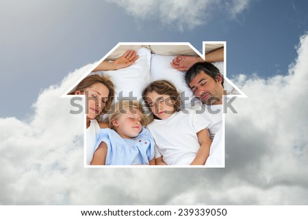 Loving family sleeping together against bright blue sky with clouds - stock photo