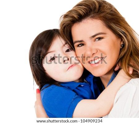 Loving mother and son - isolated over a white background