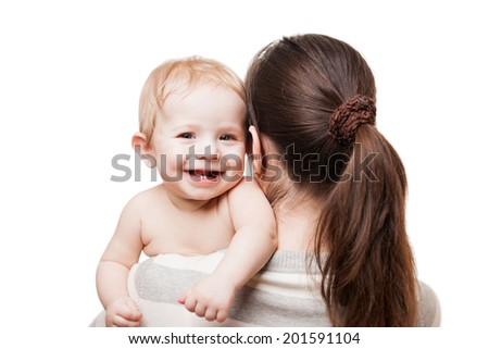 Loving mother hand holding little cute smiling newborn baby child white isolated - stock photo