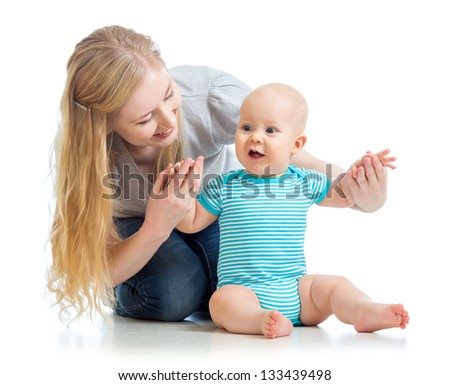 loving mother with baby boy isolated - stock photo