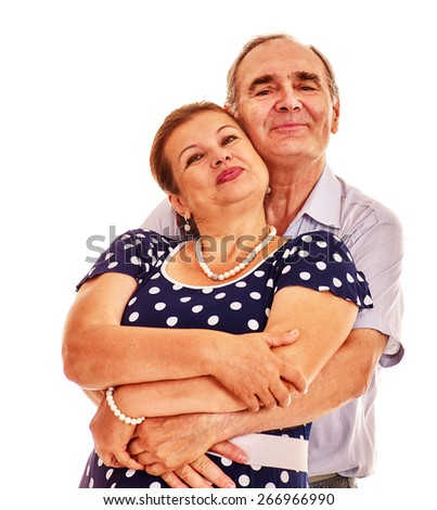 Loving old man embracing woman . Isolated on white. - stock photo