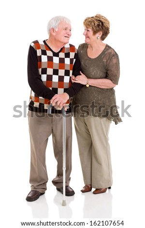 loving senior couple talking to each other isolated on white - stock photo