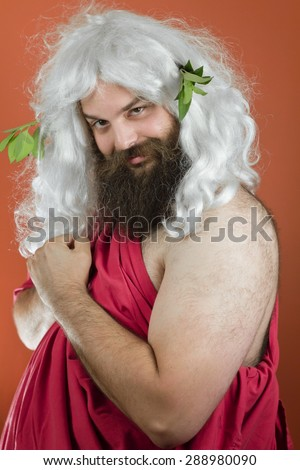 Loving zeus god or jupiter clutches his hands to his heart and blushes - stock photo