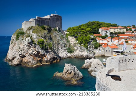 Lovrijenac Fort at the northern harbor entrance from the old town walls in Dubrovnik, Croatia