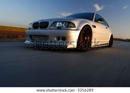 Low action in the evening light - stock photo