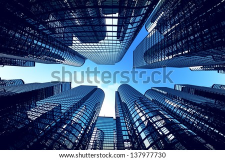 Low angle shot of modern glass city buildings during sunny day. Fisheye lens effect. - stock photo