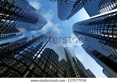 Low angle shot of modern glass city buildings with cloudy sky background. - stock photo