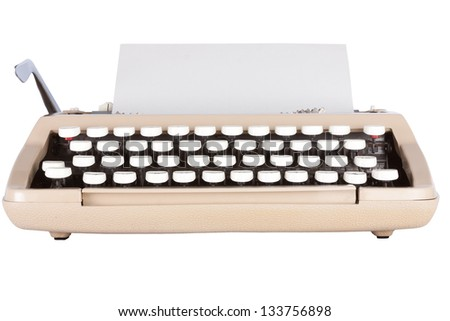 Low angle shot of typewriter with a sheet of paper isolated on a white background with clipping path - stock photo