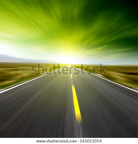 Low angle speed road - stock photo