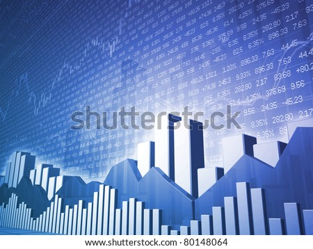 Low angle Stock market bars & charts with random finance data