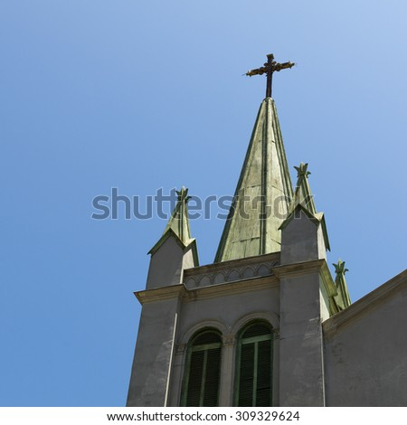 Low angle view of a church steeple, Valparaiso, Chile