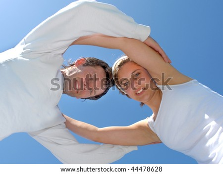 Low angle view of a happy family - stock photo