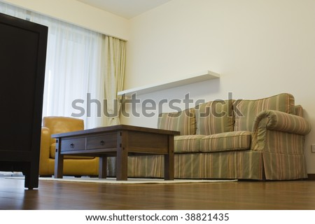 low angle view of a living room