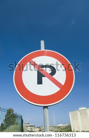 Low angle view of a No Parking sign, Malta