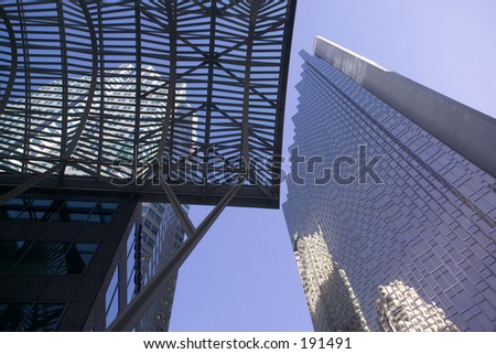 Low angle view of a sky scrapers,  Toronto,  Ontario,  Canada