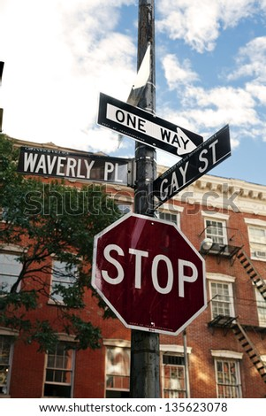 Low angle view of a street signi n the intersection of Waverly Place and Gay Street in the West Village, Manhattan, New-York