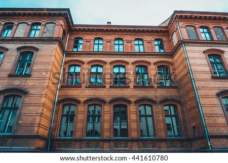 Brick Apartment Building Window low angle view beautiful apartment building stock photo 441610780