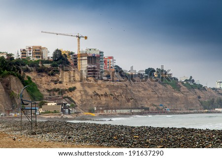 Low angle view of building under construction at coast, Miraflores, Lima, Peru