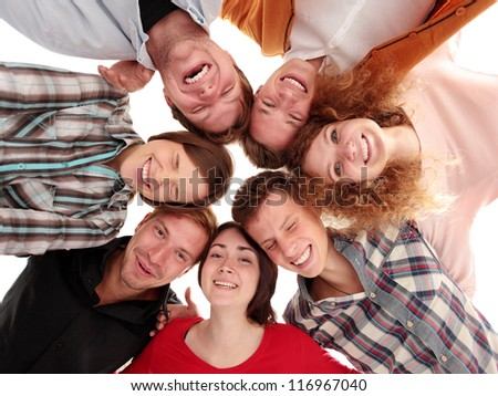 Low angle view of business people with their heads together