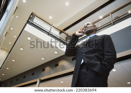 Low angle view of businessman talking on his cell phone - stock photo