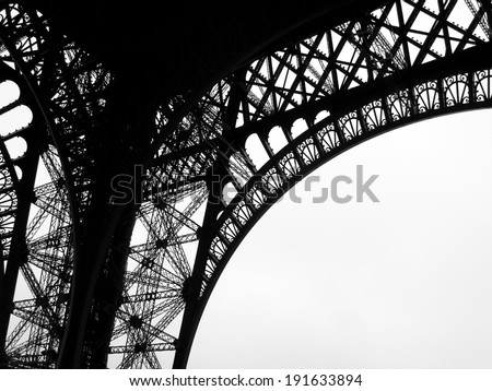 Low angle view of Eiffel Tower, Paris, France - stock photo