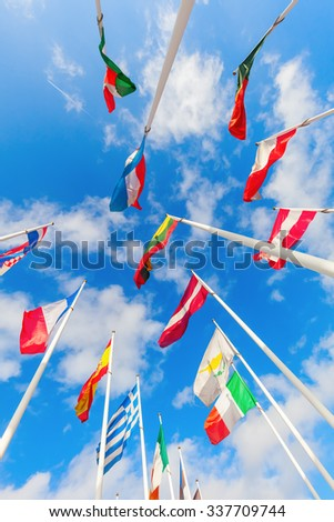 low angle view of European flags at the European District on the Kirchberg Plateau in Luxembourg