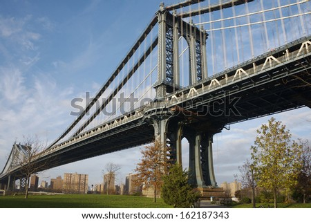 Low Angle View of Manhattan's bridge from Brooklyn.