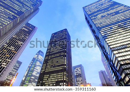 Low angle view of modern building - stock photo